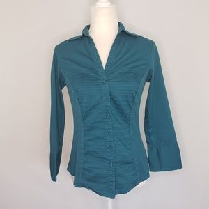 Signature by Larry Levine teal button down shirt S